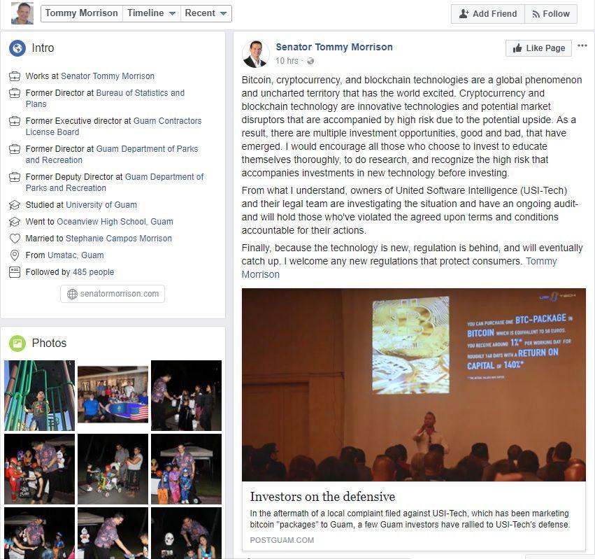 Morrison discloses USI-Tech affiliation