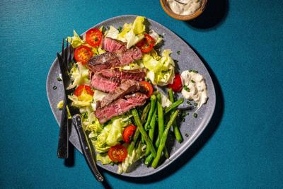 This steak salad with blue cheese and green beans is a summery twist on a classic
