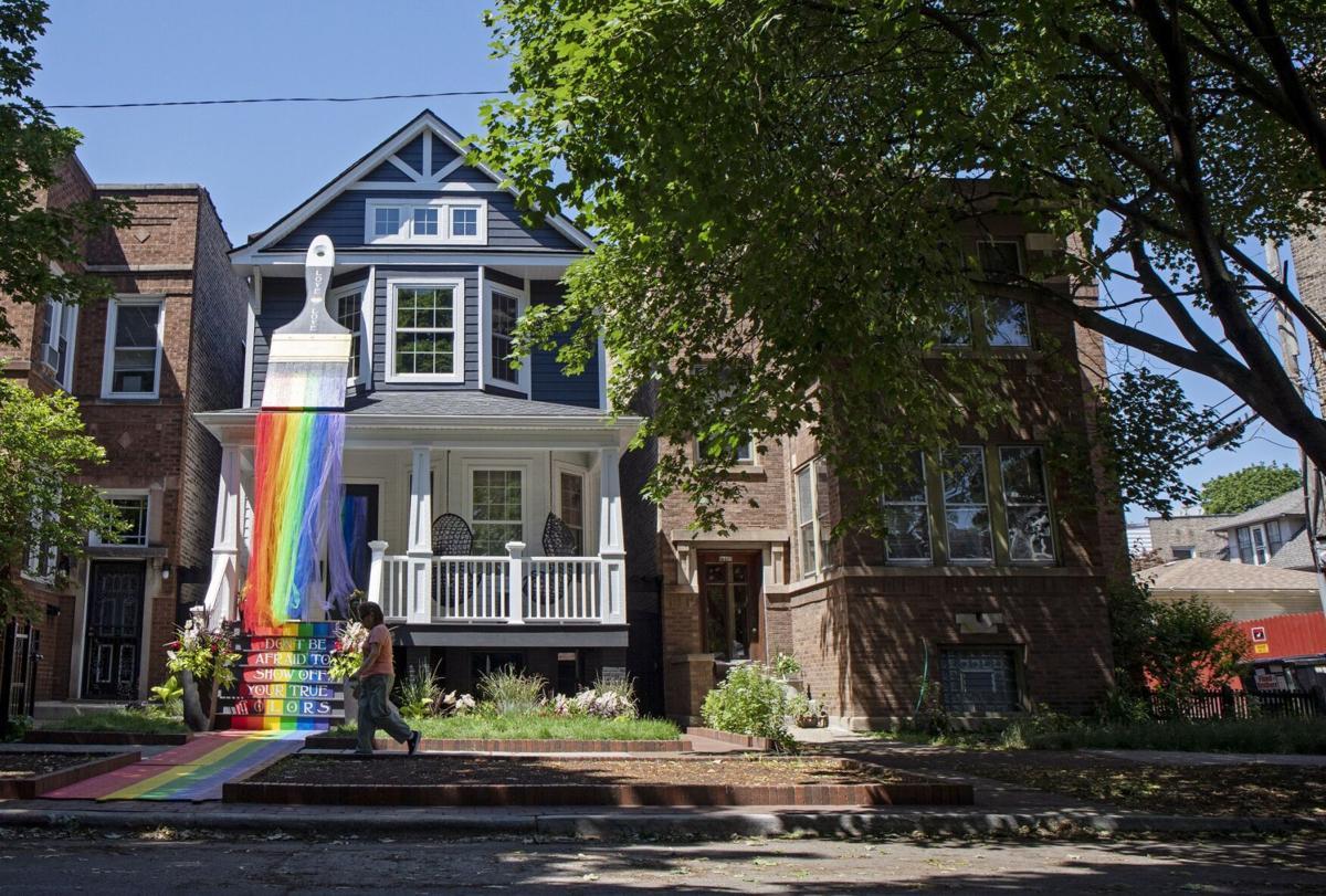 Chicago couple's giant Pride paintbrush draws crowds