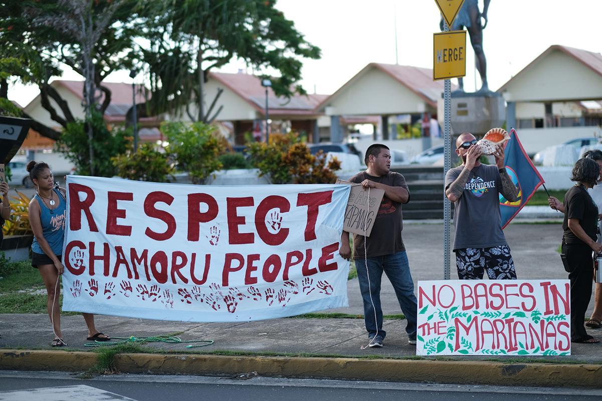 Protesters rally in Hagåtña against firing range complex
