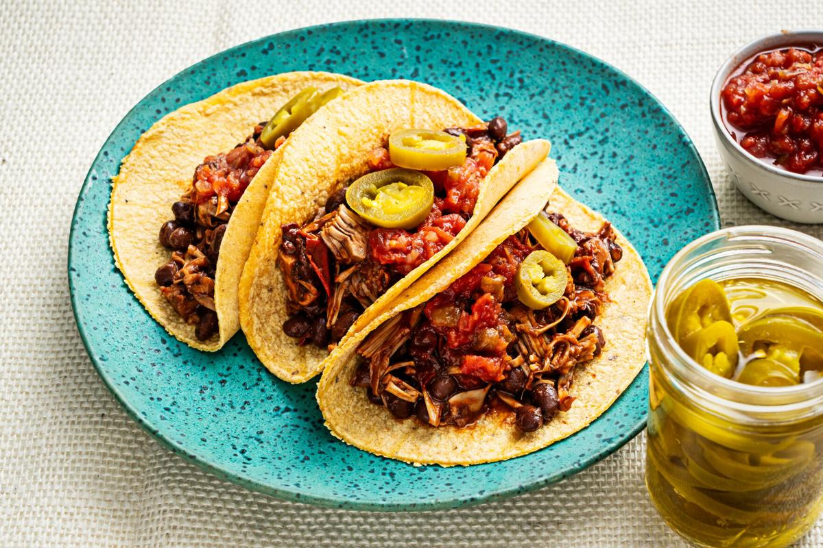 Jackfruit and black bean tacos with chipotle sauce are as pantry-friendly as it gets