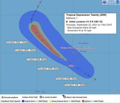 Tropical Depression 20W formed east-southeast of Guam; officials urge community to prepare