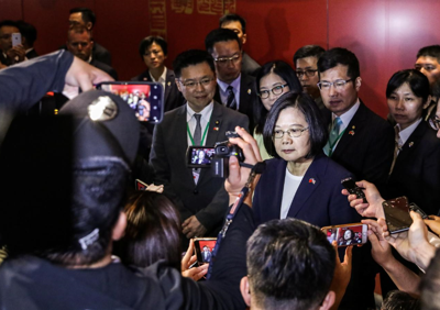 Taiwan president in US after warning of threat from 'overseas forces'