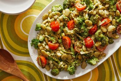 Beat the heat with this quick-cooking skillet of garlicky beans, broccoli and pesto