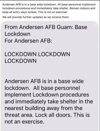 Lockdown at Andersen Air Force Base