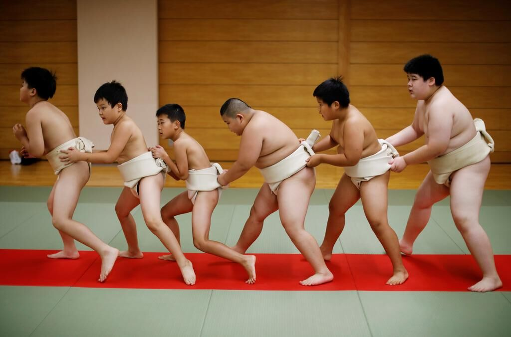 The 10-year-old, 85-kilo sumo in training