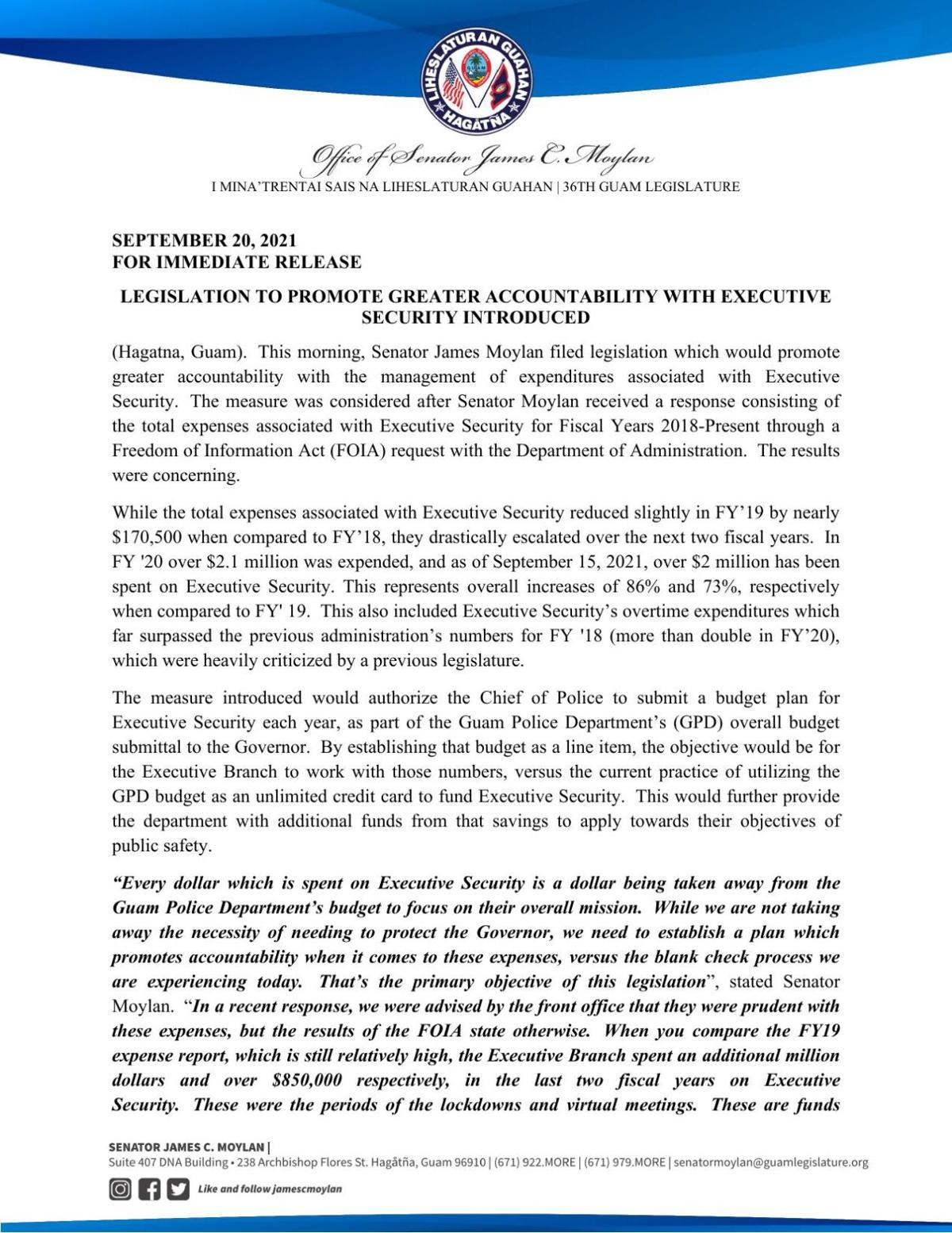 Moylan press release on legislation and exec. security costs