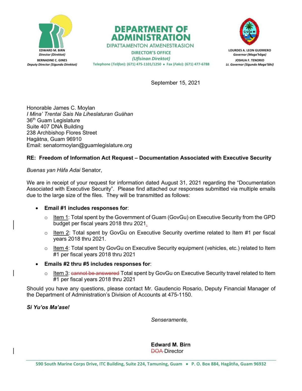 DOA FOIA response to executive security costs request 1