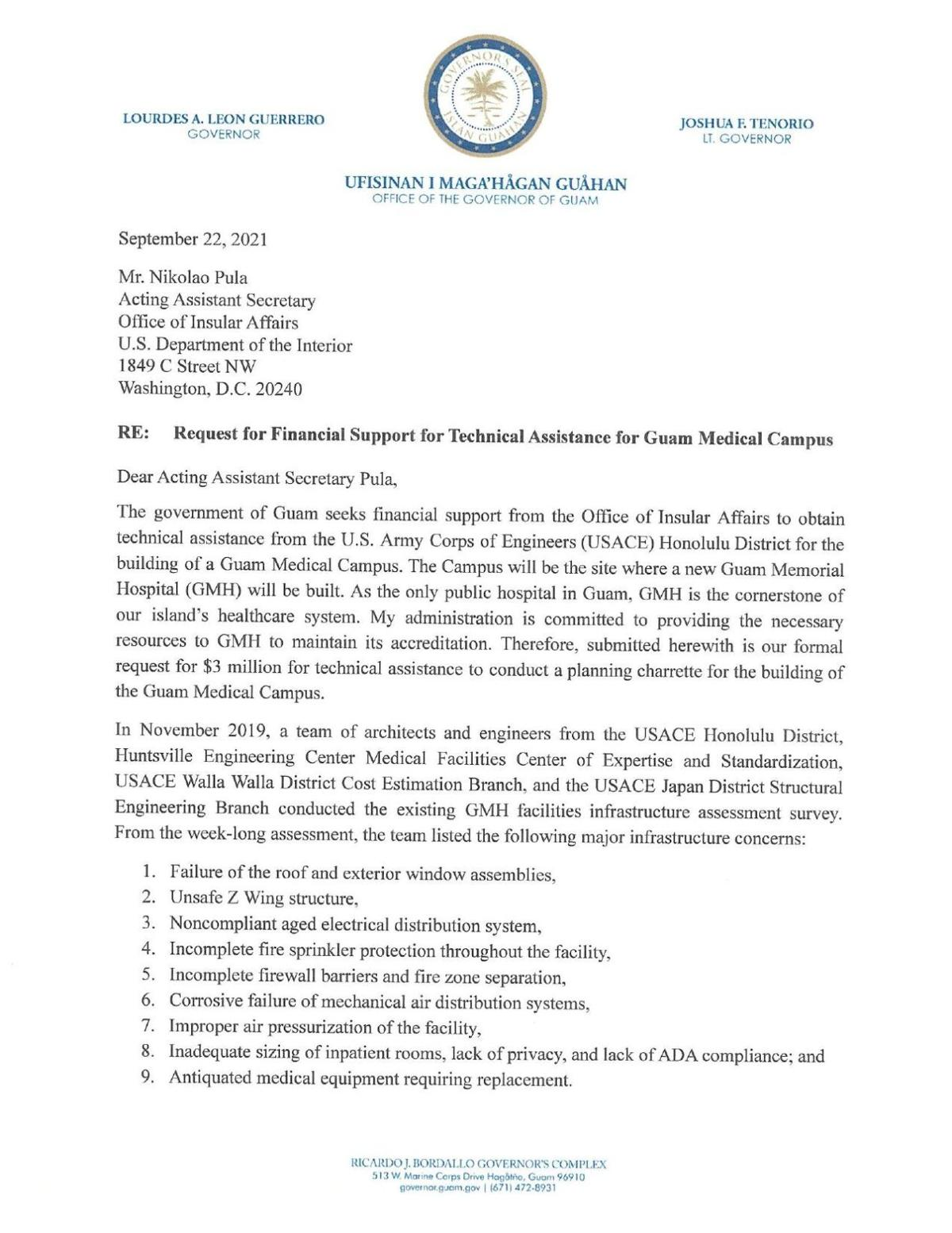092221_OIA_Nikolao Pula Re-Request for Financial Support for Technical Assistance for Guam Medical Medical Campus.pdf