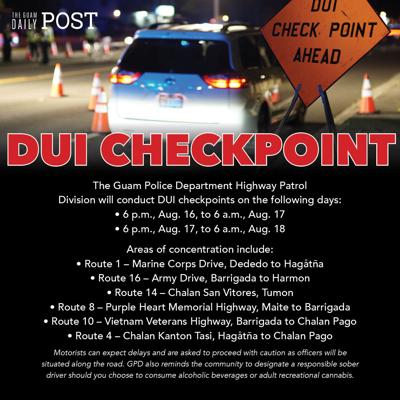 GPD to conduct DUI checkpoints this weekend