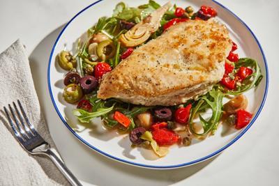 Toss together pickled vegetables for a colorful, one-skillet antipasto chicken dinner