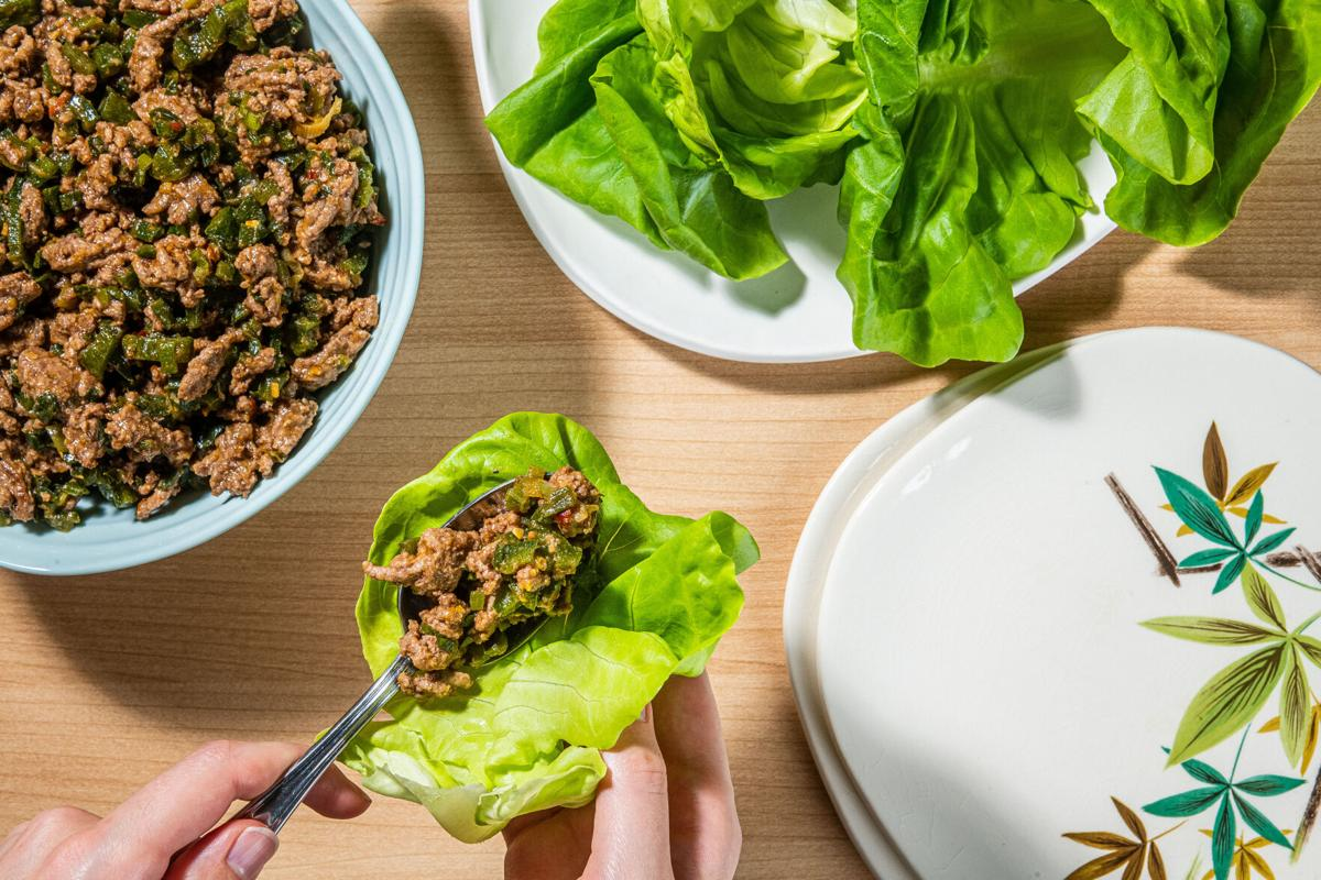 Spicy beef lettuce wraps are a fun way to get dinner on the table in 20 minutes