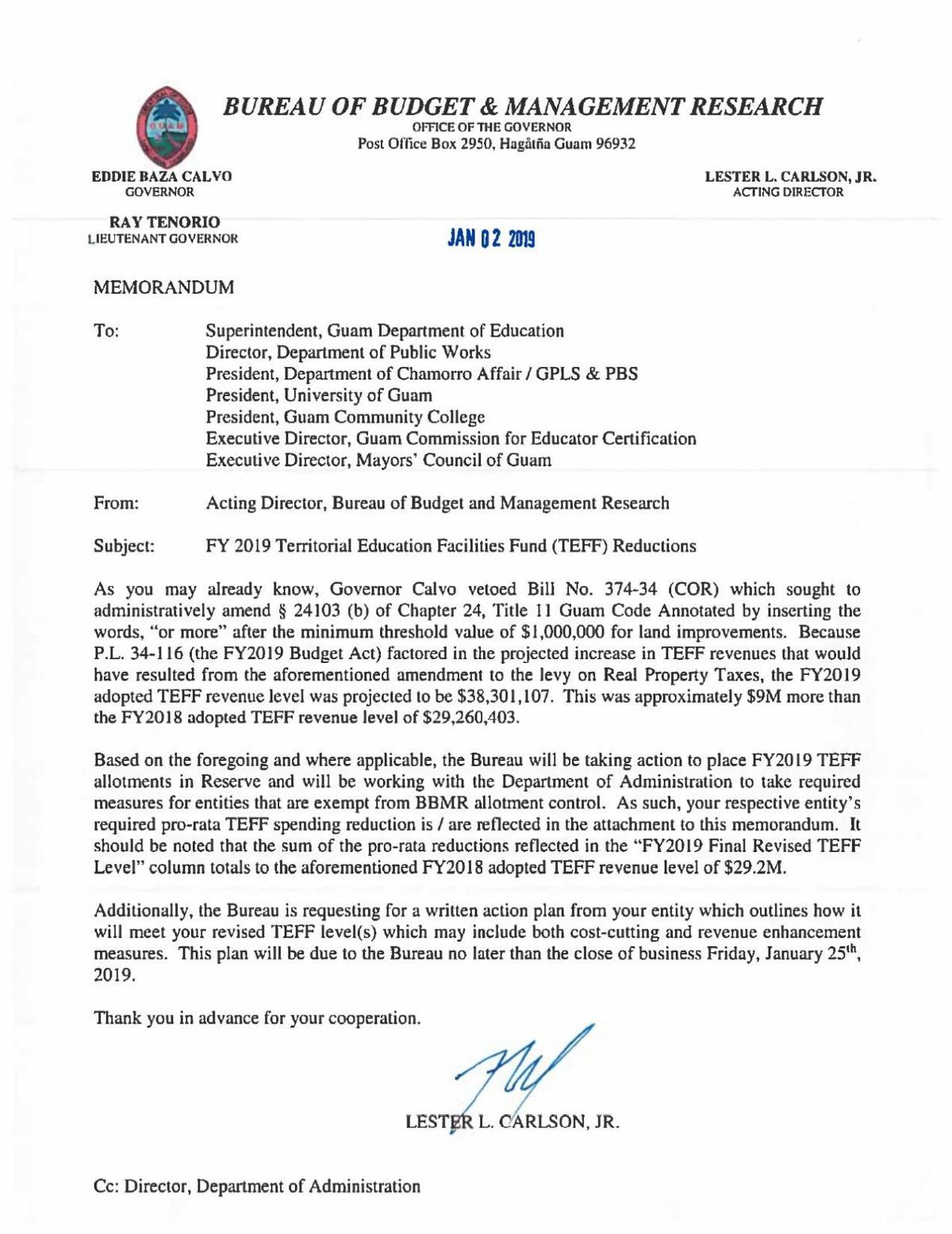 Memo Outlines Education Dept Plans To >> Bbmr Memo Onteff Reductions Postguam Com
