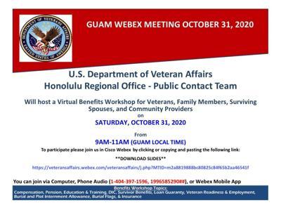 Veteran Affairs to host virtual Benefits Workshop on Oct. 31
