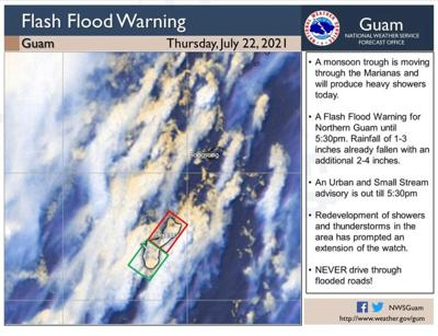 Flood advisory for Guam and the Marianas; heavy rainfall and winds with gusts to 20 mph expected