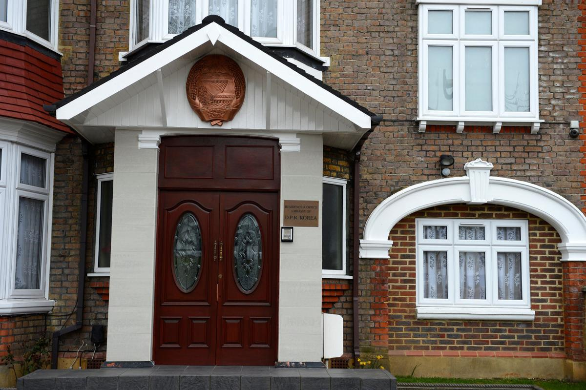 North Korea's embassy to the United Kingdom is seen located in a house in a residential district in west London