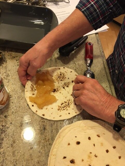 A delicious first bite of apple tortilla