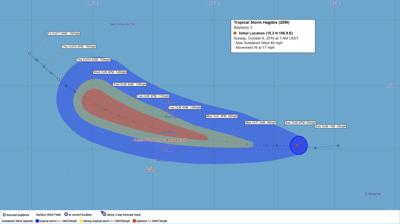 Tropical Storm Hagibis continues westward trek