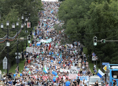 Thousands protest against Putin in Russian far east