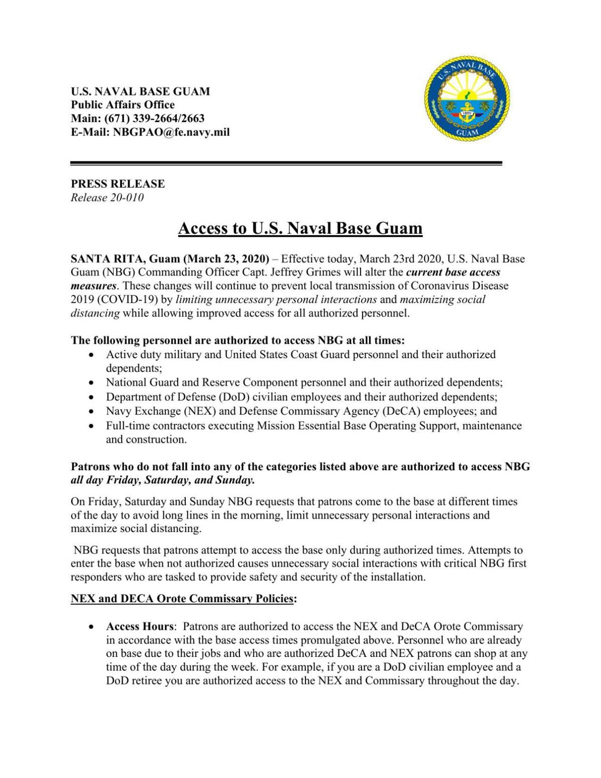 Access to Naval Base Press Release