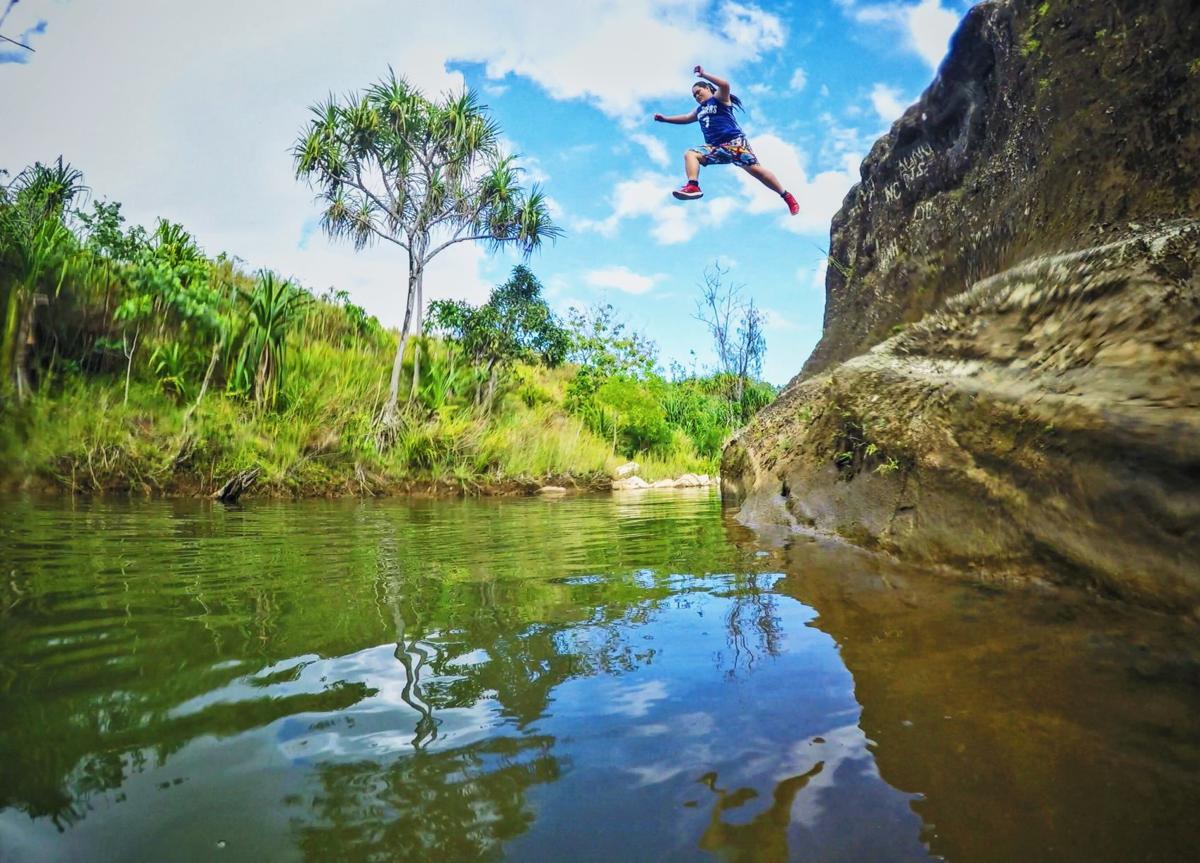 Just around the river bend to Tarzan Swim Hole