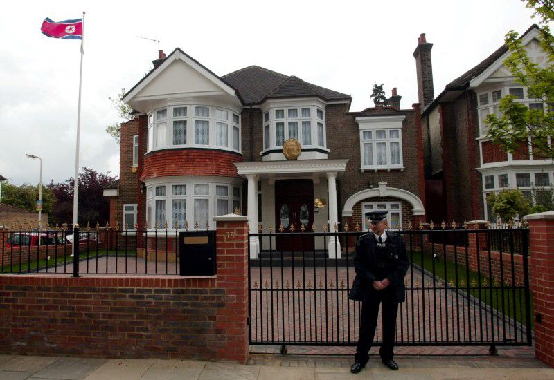 A policeman stands guard outside the newly-opened North Korean Embassy in west London