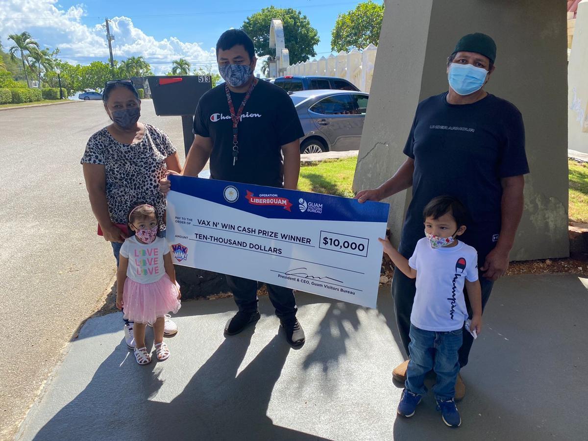 Guam's first vaccine lottery winners claim car, cash