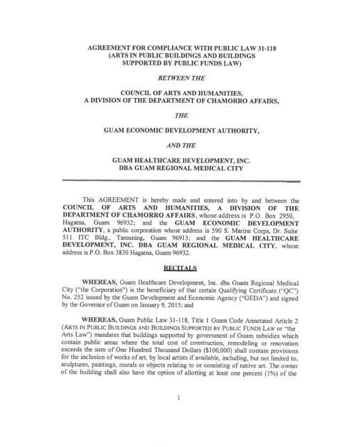 Agreement For Compliance With Public Law 31 118 Guam News