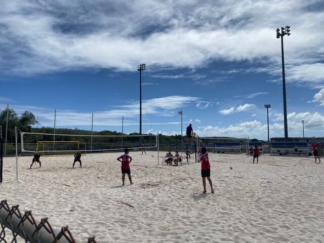 Knights rally past Friars in beach volleyball