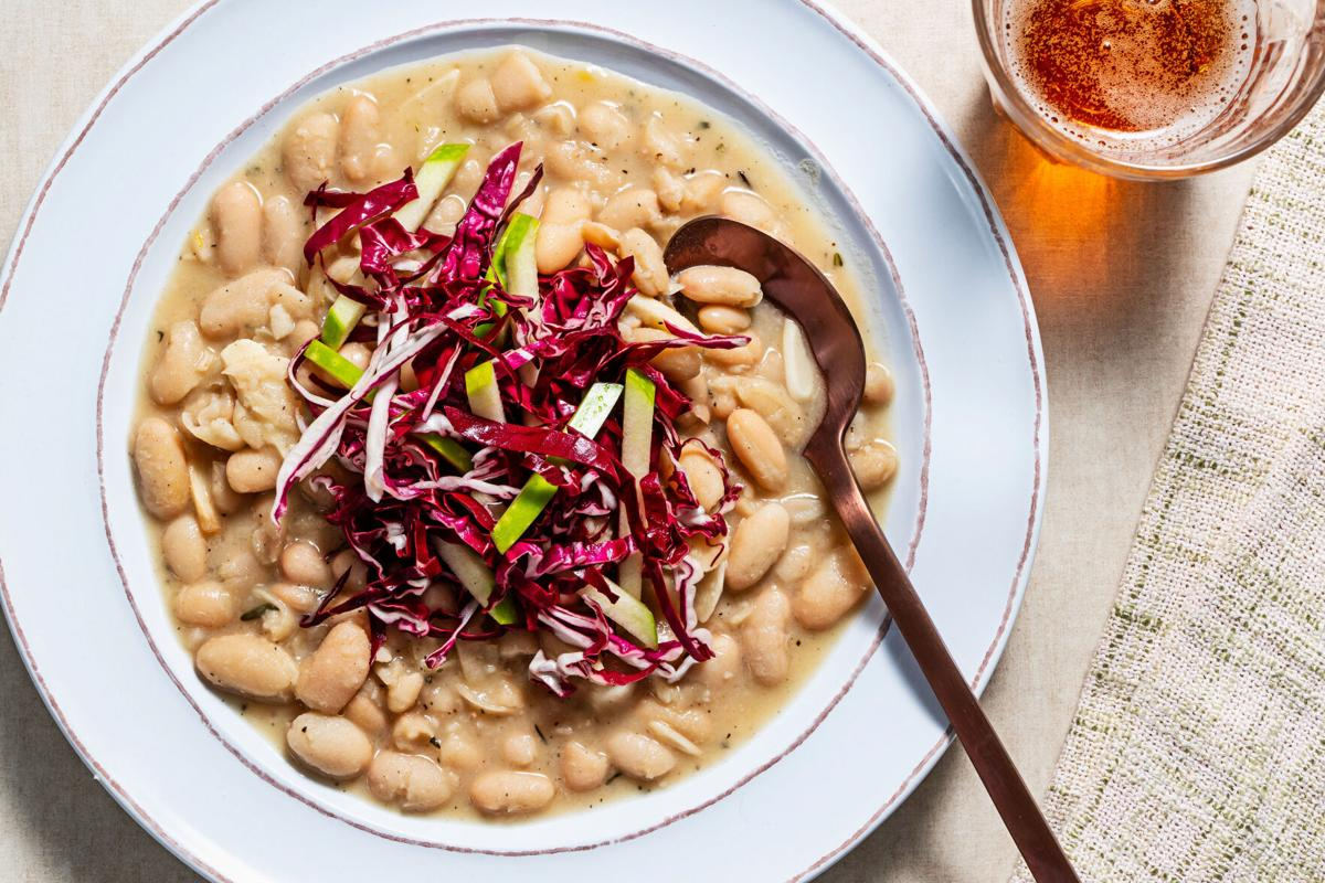 Crown a bowl of beans with jewel-toned salad for a fresh, flavorful meal