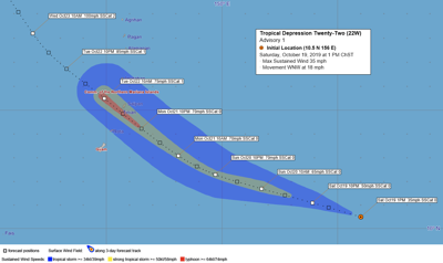 Tropical storm watch issued for Guam and Rota