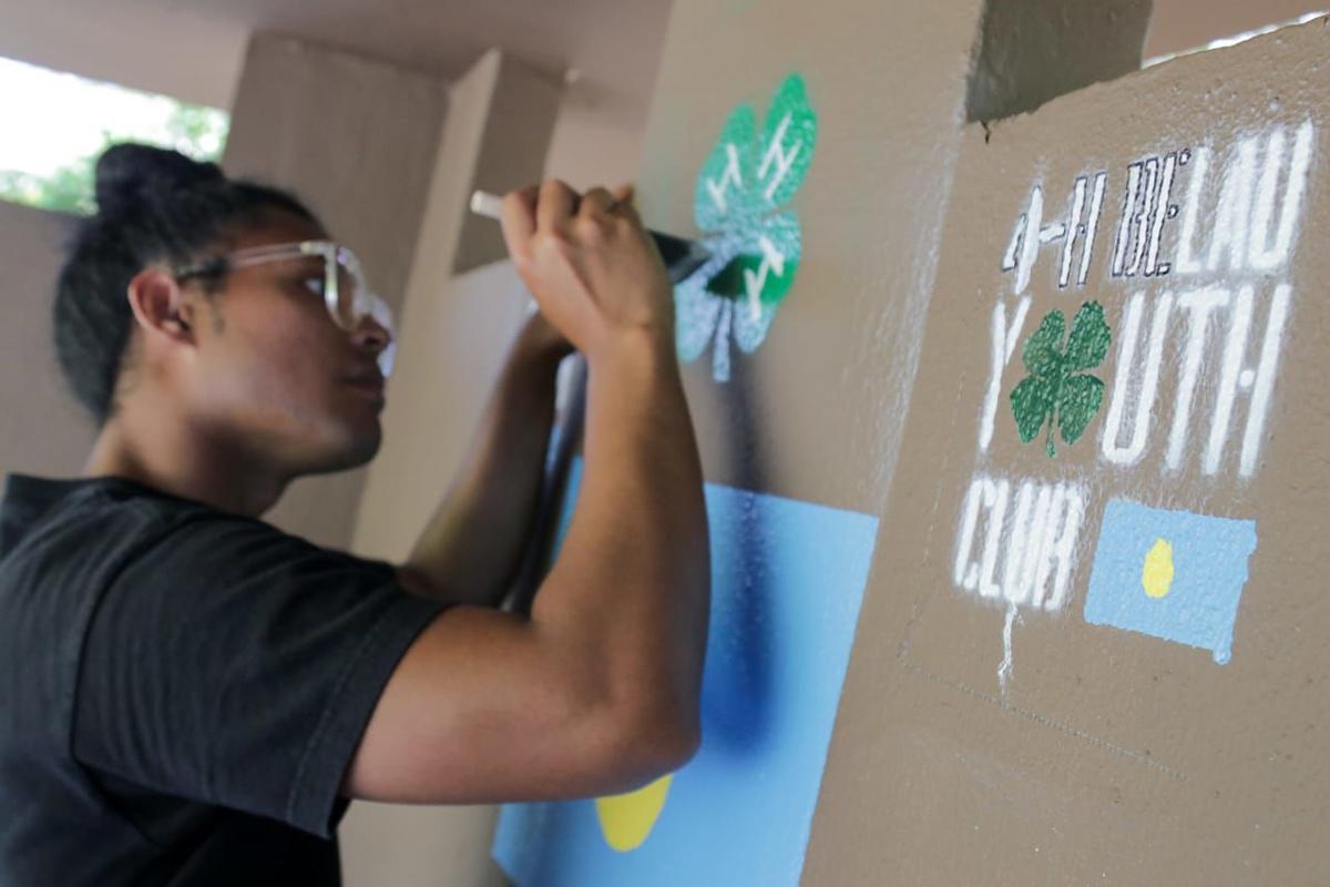 4-H Belau Youth Club cleans, paints bus stops