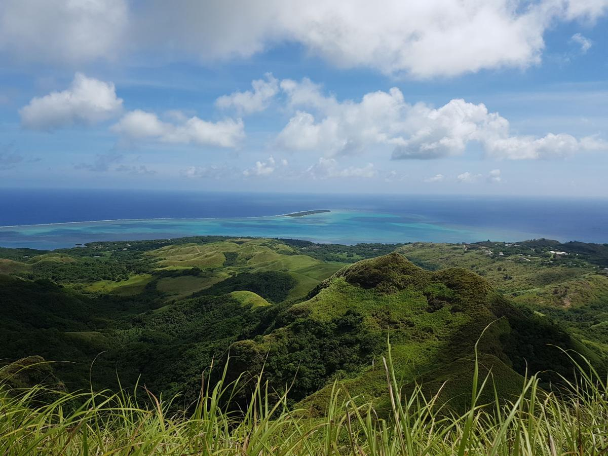 Guam's southern waters and Cocos Lagoon from atop a mountain