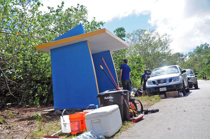 Volunteers clean Yigo bus stop
