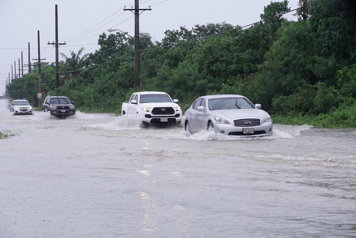 Dairy Road in Mangilao reported to be impassable - National Weather Services urges caution on roadways; warns of urban flooding