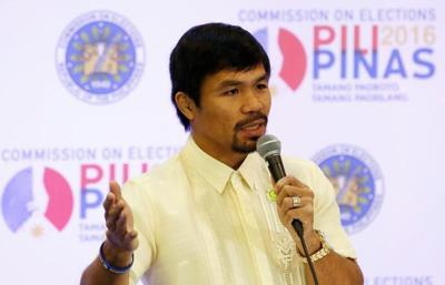 Philippine boxing star and Senator Manny Pacquiao speaks during a news conference