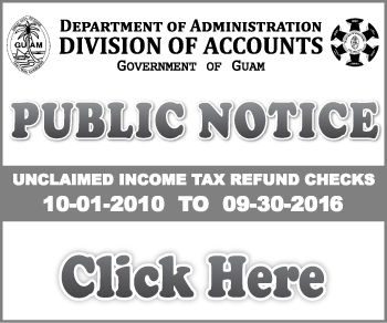Guam Department of Revenue and Taxation List of Unclaimed Taxes for October 2010 to September 2016