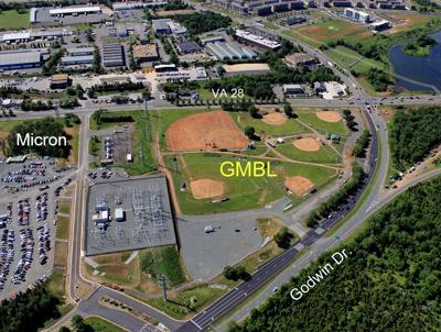 aerial photo of E.G. Smith baseball complex City of Manassas