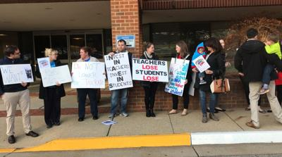 Teachers protest at BOCS meeting April 2018