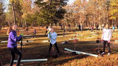 kids planting trees at Silver Lake Park