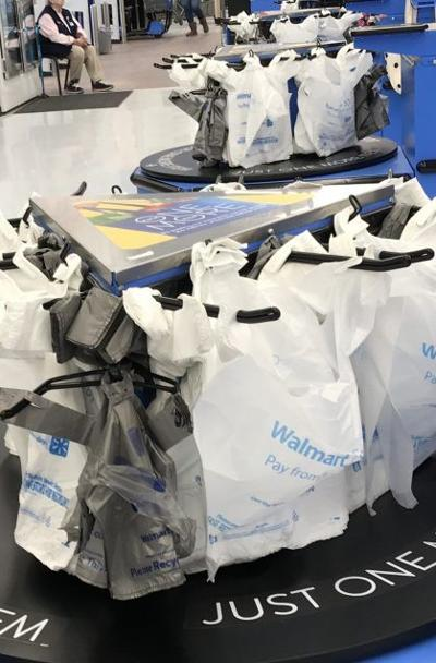 plastic bags at a Wal-Mart checkout stand