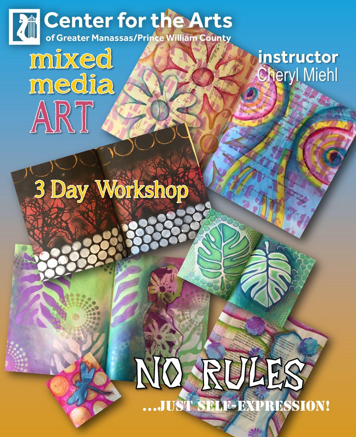 Vibrant mixed media class with artist Cheryl Miehl