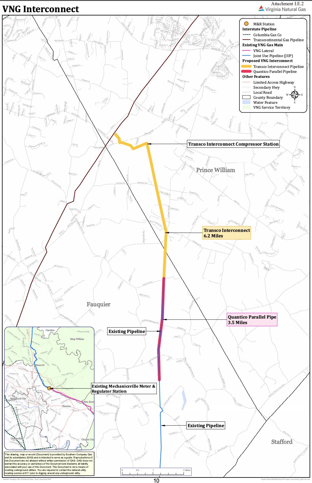 Virginia Natural Gas pipeline map