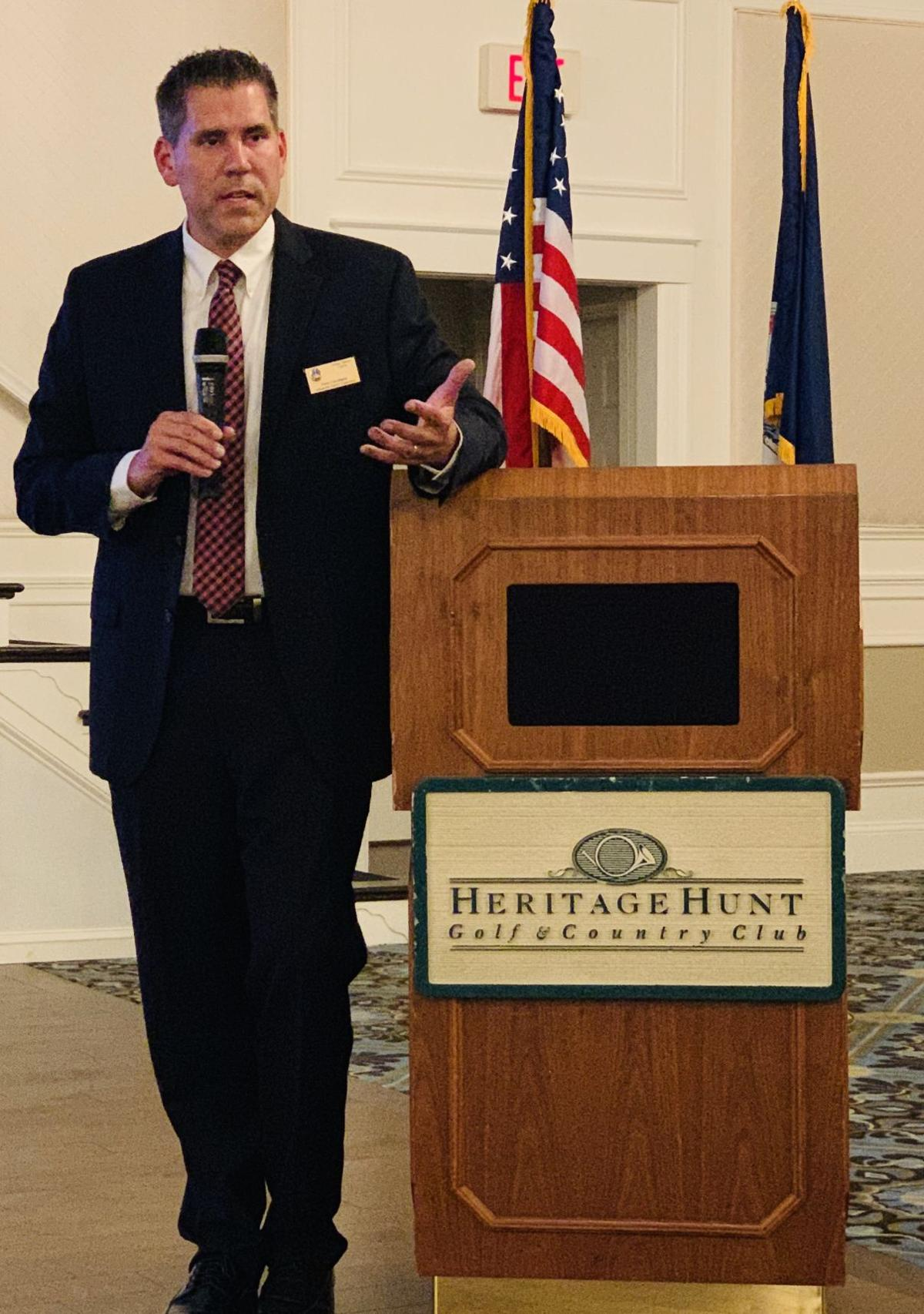 Pete Candland speaks about Tough Mudder at Heritage Hunt town hall meeting May 30, 2019