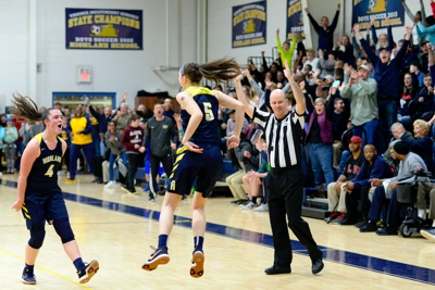 high school girls' basketball game Highland referee