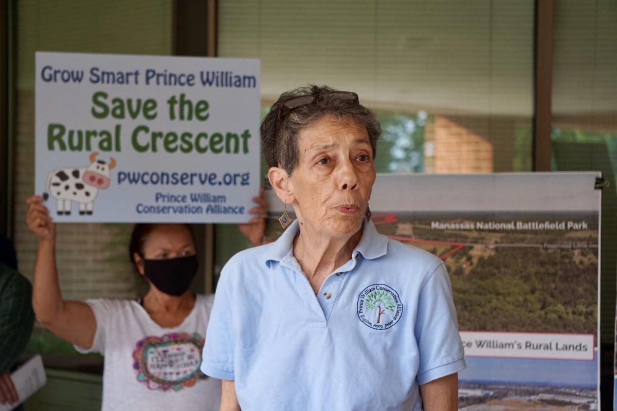 Kim Hosen, executive director of Prince William Conservation Alliance at data center presser