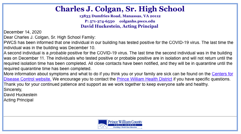Colgan letter COVID-19 outbreak