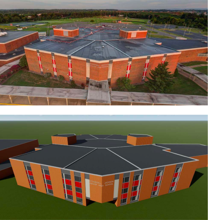 Stonewall Jackson H.S. with and without windows
