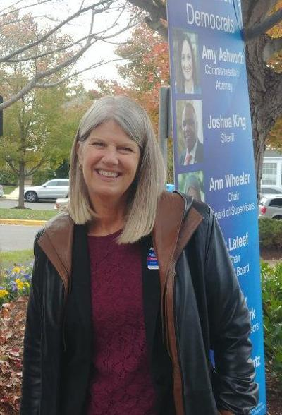 Ann Wheeler outside the polls on Election Day