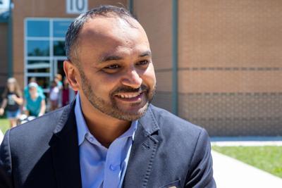 Raheel Sheikh primary election outside Penn Elementary